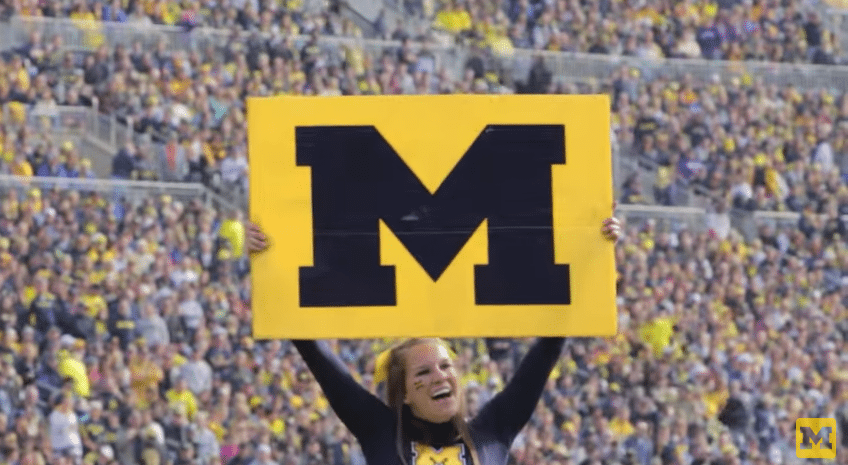 University of Michigan Cheerleader at Football Game